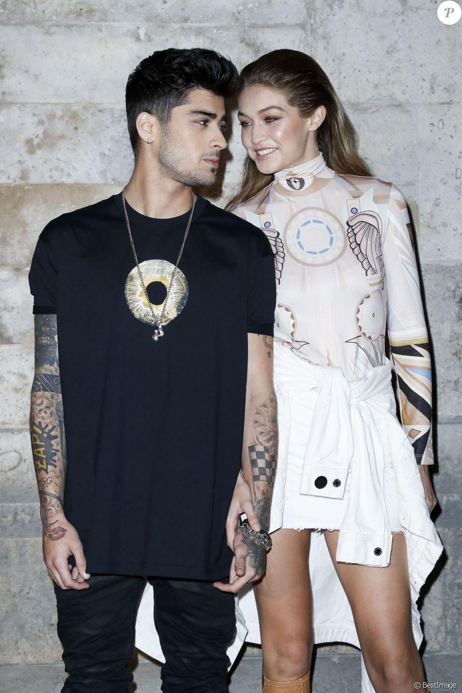 """Gigi Hadid et Zayn Malik - People au défilé de mode prêt-à-porter printemps-été 2017 """"Givenchy"""" à Paris. Le 2 octobre 2016 © Olivier Borde / Bestimage"""