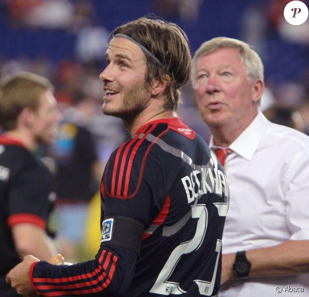 David Beckham et Sir Alex Ferguson pendant le match MLS All Stars Vs Manchester United à la Red Bull Arena de Harrison, 27 juillet 2011