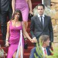 Cesc Fabregas et Daniella Seeman lors du mariage d'Andres Iniesta et Anna Ortiz à Tarragone le 8 juillet 2012.