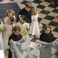 La princesse Charlotte de Cambridge et les autres enfants d'honneurs, pages et flowergirls, au mariage du prince Harry et de Meghan Markle le 19 mai 2018 à Windsor.