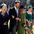 Eliza Spencer, Louis Spencer, Victoria Aitken et Kitty Spencer - Les invités arrivent à la chapelle St. George pour le mariage du prince Harry et de Meghan Markle au château de Windsor, le 19 mai 2018.