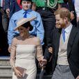 Le prince Harry, duc de Sussex, et Meghan Markle, duchesse de Sussex, lors de la garden party pour les 70 ans du prince Charles au palais de Buckingham à Londres. Le 22 mai 2018.