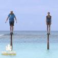 """Pascal, Clémence et Jérémy sur les poteaux dans """"Koh-Lanta : Le Combat des héros"""" (TF1) vendredi 25 mai 2018."""