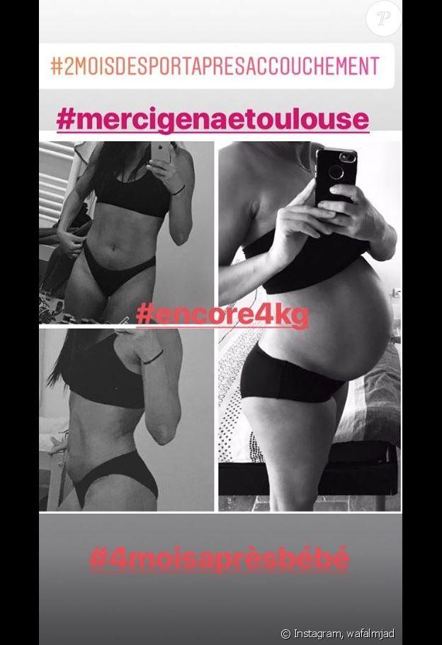 Wafa (Koh-Lanta) dévoile sa silhouette post-grossesse sur Instagram, le 6 juin 2018.