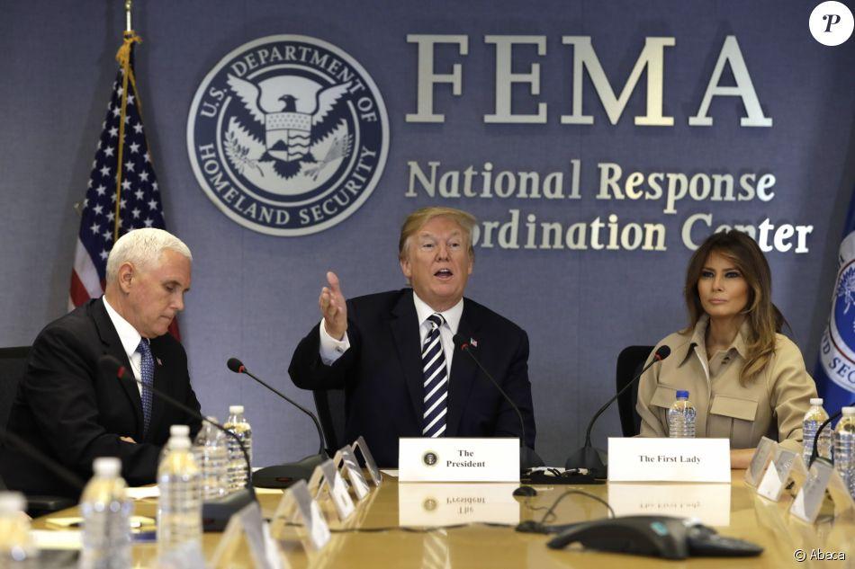 Donald Trump et Melania Trump lors d'une rencontre au siège de la FEMA à Washington, le 6 juin 2018