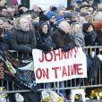 - Fans - Obsèques de Johnny Hallyday en l'église La Madeleine à Paris, France, le 9 décembre 2017. © Christophe Aubert/Bestimage