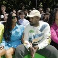 Kylie Jenner, Kim Kardashian et Kanye West au défilé homme printemps-été 2019 Louis Vuitton, signé Virgil Abloh, au Palais-Royal à Paris, le 21 juin 2018. © Olivier Borde / Bestimage