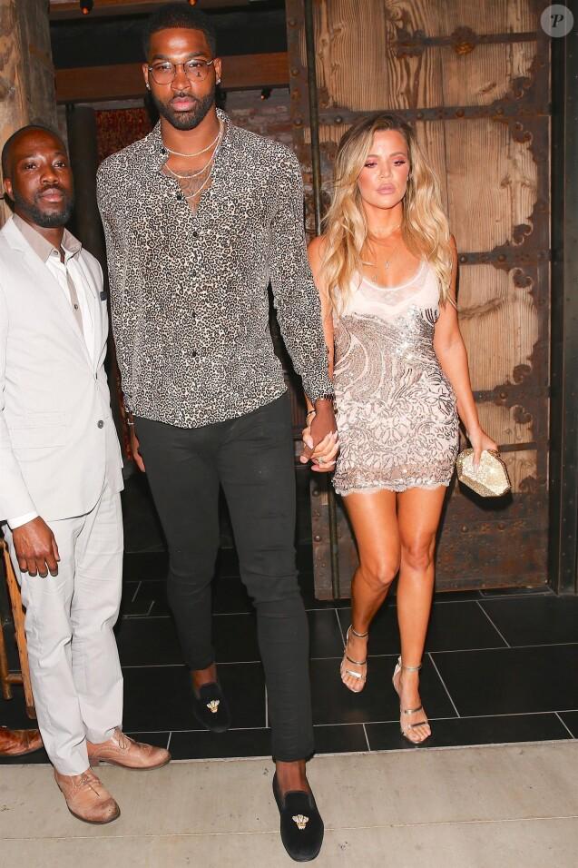 Khloé Kardashian et Tristan Thompson quittent le restaurant TAO à Hollywood le 25 juin 2017.