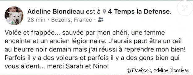 Adeline Blondieau révèle avoir été agressée dans un centre commercial de La Défense à Paris, marcredi 27 juin 2018.
