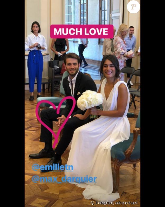 Emilie Tran NGuyen et Maxime Darquier le jour de leur mariage, le 5 juillet 2018.