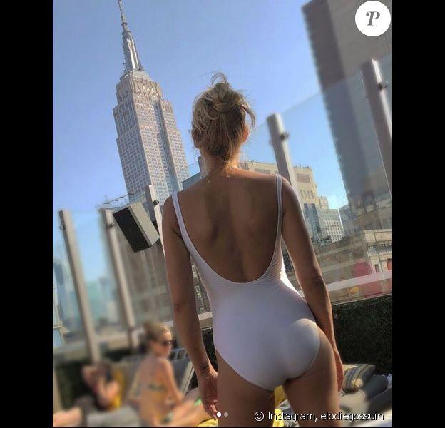 Elodie Gossuin en maillot de bain à New York pour ses 12 ans de mariage, le 7 juillet 2018.
