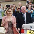 Emilia Clarke - Les célébrités arrivent au mariage de Kit Harington et Rose Leslie en l'église Rayne a Aberdeen en Ecosse, le 23 juin 2018.