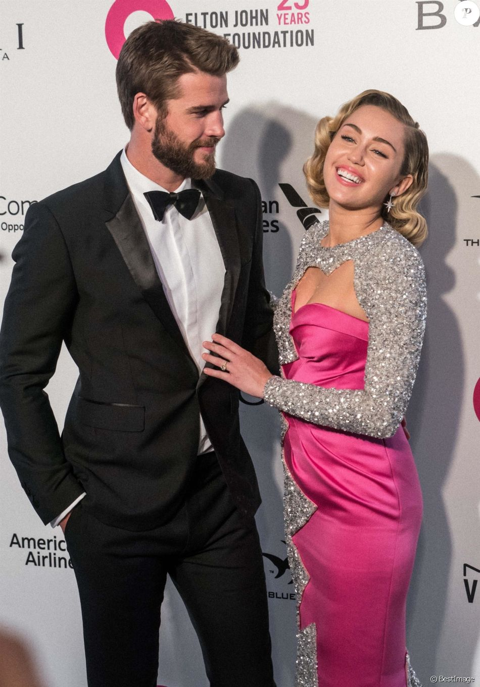 "Liam Hemsworth, Miley Cyrus à la 26ème édition de la soirée ""Elton John AIDS Foundation Oscar Party"" 2018 à West Hollywood le 4 mars 2018."