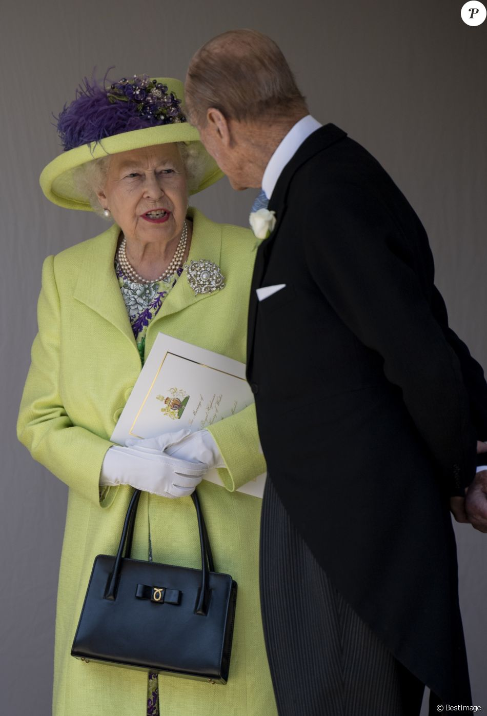 La reine Elizabeth II et le prince Philip, duc d\u0027Edimbourg, au mariage du  prince Harry et de Meghan Markle au château de Windsor, le 19 mai 2018.