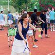 Exclusif - Elsa Esnoult, Makassy et Sol (The Voice 5) - Célébrités jouent avec des enfants malades pour l'association Enfant Star & Match au tennis Club la Roseraie à Antibes, France, le 8 juillet 2017. © JLPPA/Bestimage