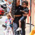 Kim Kardashian et ses enfants North West et Saint West - Les Kardashians sont allés déjeuner avec leurs enfants au restaurant Carousel à Los Angeles, le 13 juillet 2018