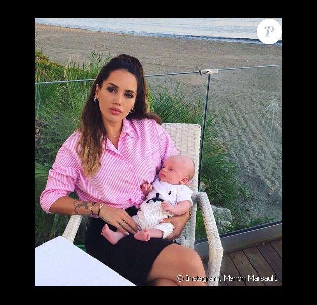 Manon Marsault (Les Marseillais) pose avec son fils Tiago - 26 juin 2018