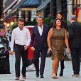 Exclusif - Pierce Brosnan et sa femme Keely Shaye Smith sont allés dîner avec leur fils Dylan au restaurant Scott's dans le quartier de Mayfair à Londres, le 17 juillet 2018.