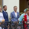 La princesse Mette Marit, le prince Haakon, Marius Borg Hoiby, la princesse Astrid, la reine Sonja - La famille royale de Norvège lors de la garden party du jubilé des 25 ans de règne du roi Harald de Norvège à Trondheim le 23 juin 2016.