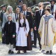 La princesse Mette-Marit et le prince héritier Haakon de Norvège, Marius Borg Hoiby, le prince Sverre Magnus et la princesse Ingrid Alexandra lors des célébrations du jubilé des 25 ans de règne du roi Harald de Norvège à Trondheim le 23 juin 2016.