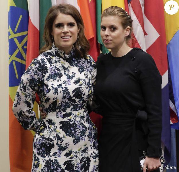 La princesse Eugenie d'York et sa soeur la princesse Beatrice d'York au siège des Nations unies à New York le 26 juillet 2018 lors d'un sommet contre l'esclavage organisé par Nexus.