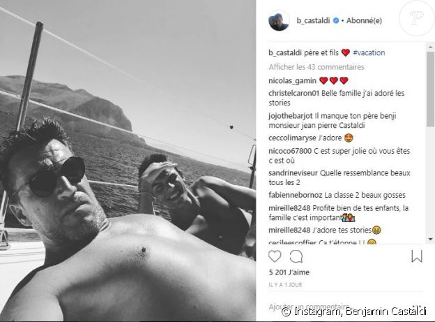 Benjamin Castaldi en vacances en Sicile avec son fils Julien - Instagram, 31 juillet 2018