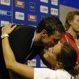 Laure Manaudou et Frédérick Bousquet, lors du podium du 50 mètres nage libre, au Championnat de France de natation, le 26 avril 2009 à Montpellier !