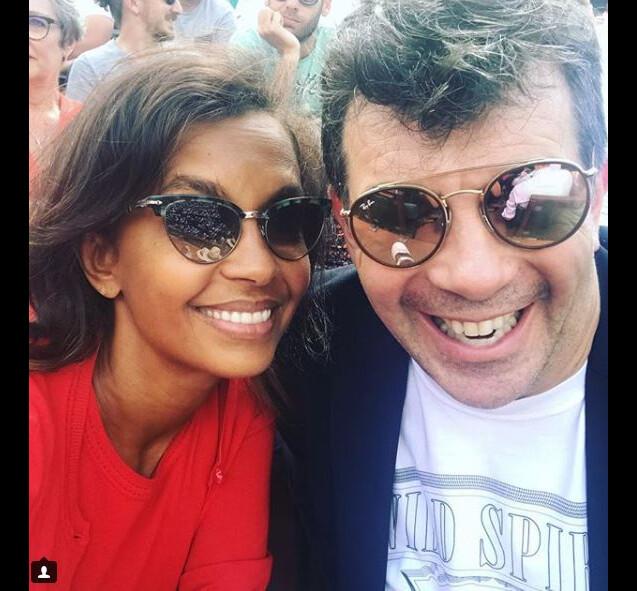 Karine Le Marchand et Stéphane Plaza à Roland-Garros le 4 juin 2018.