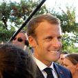 Le président Emmanuel Macron lors de la cérémonie du 74ème anniversaire de la libération de Bormes-les-Mimosas pendant la seconde guerre mondiale le 17 août 2018. © Dominique Jacovides / Cyril Moreau / Bestimage