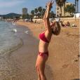 Sylvie Tellier à la plage dans le sud de la France, le 24 août 2018.