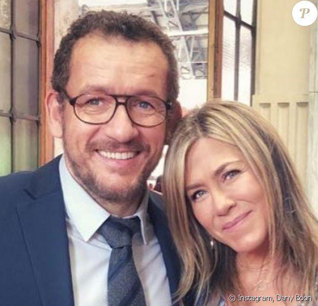 """Dany Boon en compagnie de Jennifer Aniston et Adam Sandler - Dernier jour de tournage de """"Murder Mystery"""" à Milan, le 25 août 2018."""