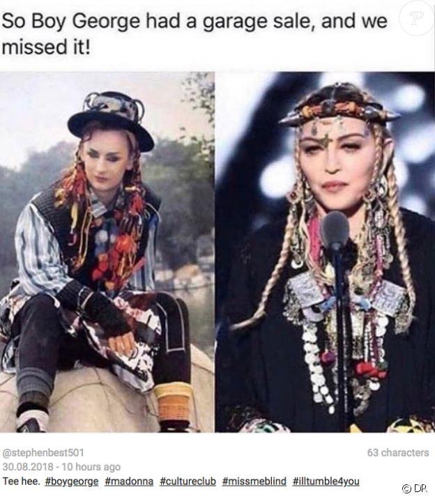 Sur les réseaux sociaux, les internautes s'amusent de la ressemblance entre le Boy George des années 1980 et le look marocain de Madonna aux derniers MTV Video Music Awards, le 20 août 2018.