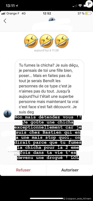 Jesta (Koh-Lanta) critiquée pour avoir fumé une chicha, elle répond sur Instagram. Août 2018.
