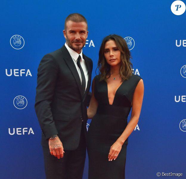 David et Victoria Beckham durant le tirage au sort de la Champions League dans la salle des Princes du Grimaldi Forum à Monaco le 30 août 2018. © Bruno Bebert / Bestimage