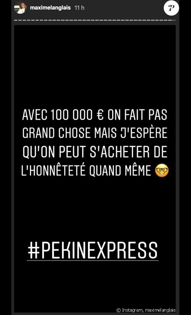 """Maxime clashe Didier après sa victoire dans """"Pékin Express 2018 : La Course infernale"""" (M6) sur Instagram le 5 septembre 2018."""