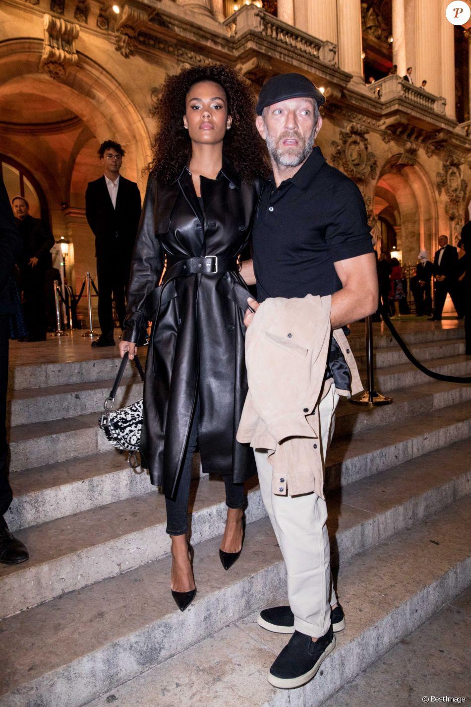 Vincent Cassel et sa femme Tina Kunakey lors de la soirée du 70ème anniversaire de Longchamp à l'Opéra Garnier à Paris, France, le 11 septembre 2018. © Cyril Moreau/Bestimage