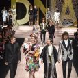 Caleb Lane, Elettra Rossellini, Ronin Lane, Isabella Rossellini, Roberto Rossellini lors du défilé Dolce & Gabbana pour la collection Prêt-à-Porter Printemps/Eté 2019 lors de la Fashion Week de Milan, Italie, le 23 septembre 2018.