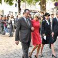 La reine Sonja de Norvège, la premièredame Brigitte Macron au centenaire de la Section Norvégienne du Lycée Pierre Corneille à Rouen le 24 septembre 2018. Au programme : Signatures d'accords-cadres de coopération dans le domaine de l'éducation, de l'enseignement supérieur, de la recherche scientifique, de l'innovation, de l'industrie et de la culture; dévoilement de la statue offerte par la Norvège par Sa Majesté la Reine en présence de l'artiste, Espen Dietrichson; signature du Livre d'Or en présence des autorités et des élus. © Francis Petit / Bestimage