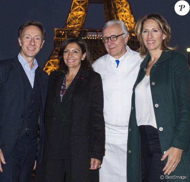 """Exclusif - Stéphane Bern, Anne Hidalgo, Alain Ducasse et Maud Fontenoy - Baptême du bateau """"Ducasse sur Seine"""" à Paris. Le 27 septembre 2018 © Julio Piatti / Bestimage"""