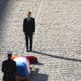 Emmanuel Macron - Arrivées à l'hommage national à Charles Aznavour à l'Hôtel des Invalides à Paris. Le 5 octobre 2018 © Jacovides-Moreau / Bestimage