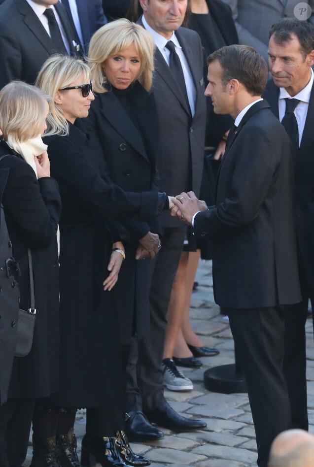 Ulla Aznavour et sa fille Katia, Brigitte et Emmanuel Macron - Arrivées à l'hommage national à Charles Aznavour à l'Hôtel des Invalides à Paris. Le 5 octobre 2018 © Jacovides-Moreau / Bestimage