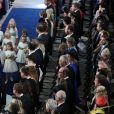 La princesse Eugenie d'York, le prince Andrew, duc d'York, le prince George de Cambridge et la princesse Charlotte de Cambridge - Cérémonie de mariage de la princesse Eugenie d'York et Jack Brooksbank en la chapelle Saint-George au château de Windsor, Royaume Uni le 12 octobre 2018.