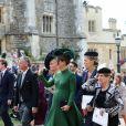 Pippa Middleton en Emilia Wickstead - Sorties après la cérémonie de mariage de la princesse Eugenie d'York et Jack Brooksbank en la chapelle Saint-George au château de Windsor, Royaume Uni, le 12 octobre 2018.