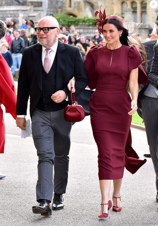 Demi Moore en Stella McCartney - Les invités arrivent à la chapelle St. George pour le mariage de la princesse Eugenie d'York et Jack Brooksbank au château de Windsor, Royaume Uni, le 12 octobre 2018.