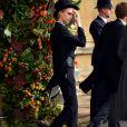 Cara Delevingne en Emporio Armani - Sorties après la cérémonie de mariage de la princesse Eugenie d'York et Jack Brooksbank en la chapelle Saint-George au château de Windsor, Royaume Uni, le 12 octobre 2018.
