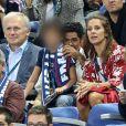 Jamel Debbouze, sa femme Mélissa Theuriau et leur fils Léon dans les tribunes du stade de France lors du match de ligue des nations opposant la France à l'Allemagne à Saint-Denis, Seine Saint-Denis, France, le 16 octobre 2018.