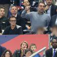 Franck Dubosc, sa femme Danièle et leurs fils Raphaël et Milhan dans les tribunes du stade de France lors du match de ligue des nations opposant la France à l'Allemagne à Saint-Denis, Seine Saint-Denis, France, le 16 octobre 2018. La France a gagné 2-1.