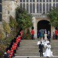 La princesse Eugenie d'York, son mari Jack Brooksbank, Sarah Ferguson, duchesse d'York, la princesse Beatrice d'York, Nicola et George Brooksbank - Sorties après la cérémonie de mariage de la princesse Eugenie d'York et Jack Brooksbank en la chapelle Saint-George au château de Windsor, Royaume Uni, le 12 octobre 2018.