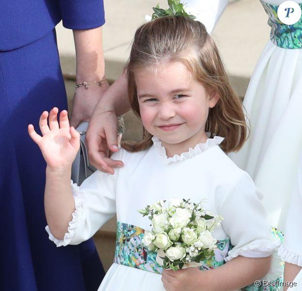 La princesse Charlotte de Cambridge - Sorties après la cérémonie de mariage de la princesse Eugenie d'York et Jack Brooksbank en la chapelle Saint-George au château de Windsor le 12 octobre 2018.