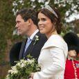 La princesse Eugenie d'York et son mari Jack Brooksbank - Sorties après la cérémonie de mariage de la princesse Eugenie d'York et Jack Brooksbank en la chapelle Saint-George au château de Windsor le 12 octobre 2018.